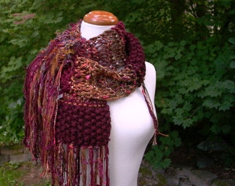 autumn tapestry. handknit scarf . knit patchwork art yarn scarf . burgundy maroon wine rust gold maple leaf . fall colors scarf