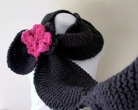 peony for your thoughts. convertible knit scarf shawl cowl wrap . charcoal gray stay put scarf . warm wool chunky knitwear . pink flower pin