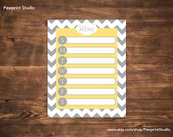 INSTANT PRINTABLE Weekly Menu Planner - Yellow & Gray (8x10)