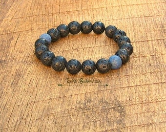 Mens Black Lava Rock and Lapis Lazuli Bracelet simple rugged rustic understated rocker style stretch stacking stackable stack guys blue
