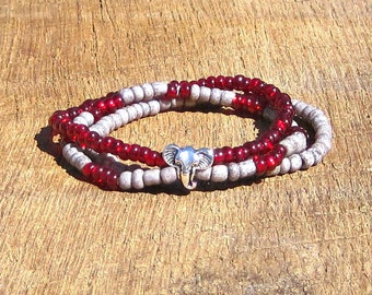 Elephant Head Triple Strand Stretch Bracelet cranberry crimson red grey gray jungle animal stacking stackable stack customizable