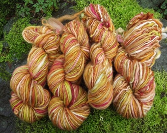 Handspun yarn, Handpainted Single Ply worsted organic Polwarth wool -Summer