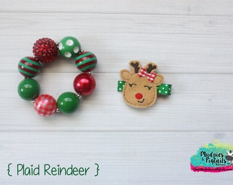 Christmas baby Hair Clippie or bracelet { Plaid Reindeer } red green plaid striped Birthday, Hair Clip, Barette, Hair Bow No Slip