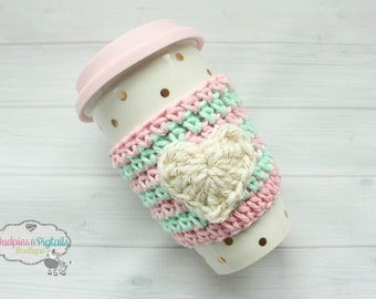 Crochet Coffee Cup Cozy { Striped Heart } Mint, pink cream with Gold sparkle Coffee cozie, coffee sleeve, mug sweater, tea Mug cups, planner