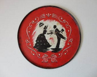 VINTAGE victorian couple TRAY for serving or wall hanging
