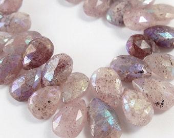 Russian Muscovite Gemstone.  Semi Precious Gemstone Briolette. Faceted AB Pear Briolette Gemstone.  13mm- 15mm. Your Choice