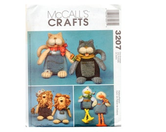 Stuffed Toy Cat Lion Duck Doll Craft Sewing Pattern  Blue Jean Buddies McCalls 3207