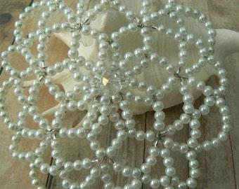 White Beaded Kippah - Women Beaded Yarmulke - Religious Clothing - Wedding Kippah.