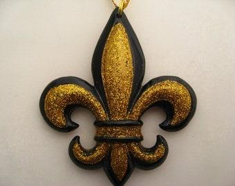 Fleur de lis Christmas Ornament black and gold ornament Decoration Nola favor w free pouch
