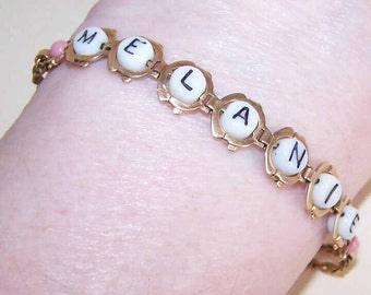 Vintage GOLD FILLED & Alphabet Glass Bead Bracelet for Melanie