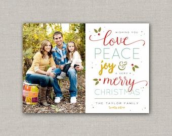 Christmas Photo Card  - Love, Peace, Joy