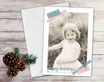 Personalized Photo Holiday Card - Christmas Photo Card - New Years Photo Card - Winter Holiday Card - Taped Photo - Blue and Pink - WH171