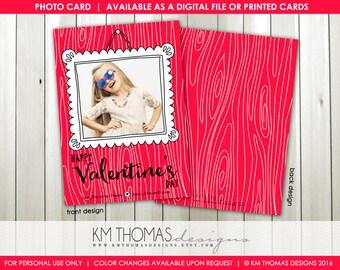 Framed with Love Printable Valentine's Day Photo Card : Personalized Photo Valentine's Day Card - White Doodle Frame - Item VA106