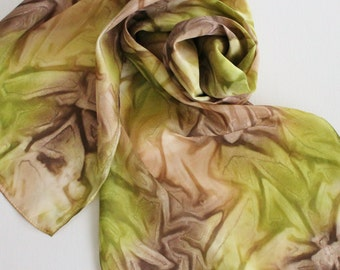 Hand Painted Silk Scarf - Handpainted Scarves Olive Green Avocado Brown Chocolate Tan Beige Camo Camouflage