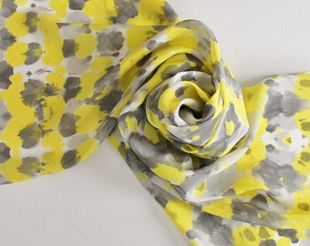 Hand Painted Silk Scarf - Handpainted Scarves Yellow Bright Lemon Sun Black Charcoal Light Gray Grey Ash White Bumblebee Bee Tie Dye