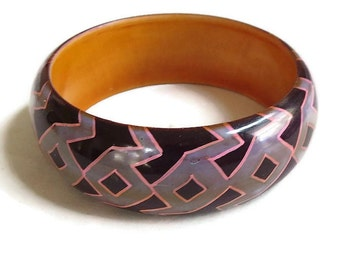 Vintage Black Pink and Purple Enameled Bracelet – Zig Zag Abstract