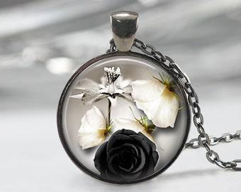 Black Rose  Glass Pendant -Black Rose Jewelry -Rose Necklace - Art Pendant - BlackNecklace -Black Rose Pendant,Black Rose Charm