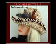 COWBOY Hat - COWGIRL HAT, Crochet Pattern, hat crochet pattern, crochet pattern hat, crochet hat pattern,  adult size, number 565