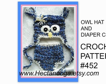 CROCHET PATTERN, baby hat and diaper cover, owl, num. 452, newborn to age 2, beginner easy, instant download