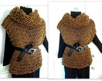 Cowl neck Pullover Vest - KNITTING PATTERN, Women's clothing, XS to 4XL, pattern # 889