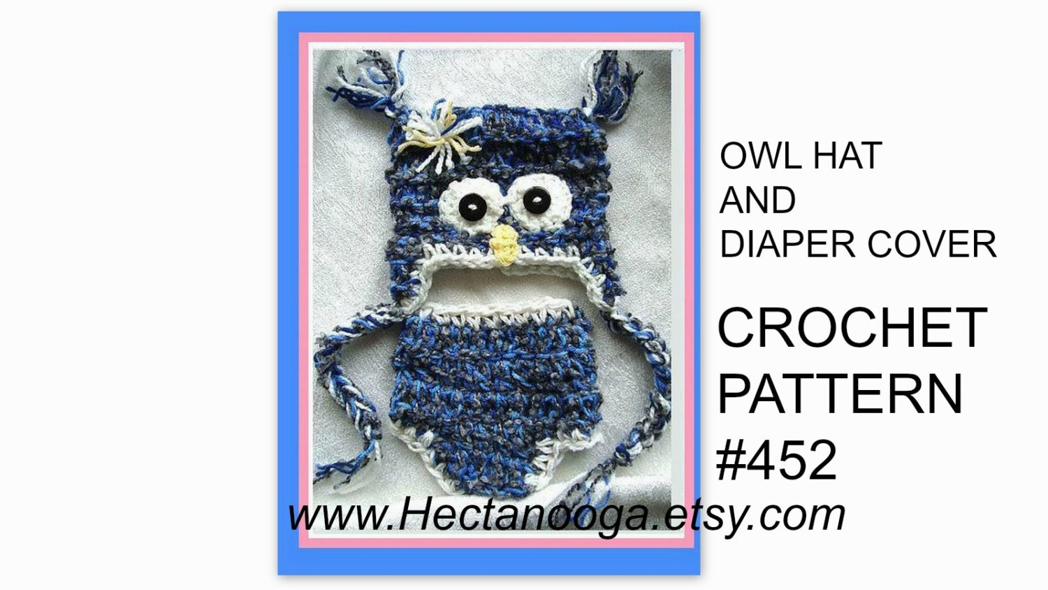 CROCHET PATTERN baby hat and diaper cover owl num. 452