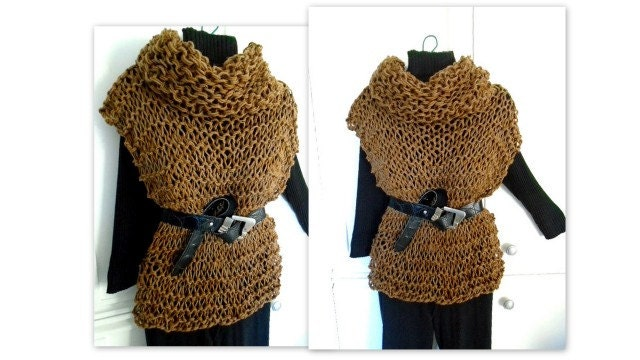 Knitting Pattern Cable Knit Cowl Vest : Cowl neck Pullover Vest KNITTING PATTERN Womens