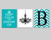 Keep Calm and Dream On, Chevron Monogram Initial, Chandelier CANVAS Art Trio Set of Three - Teen Girl Bedroom Decor - Choose Your Colors