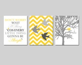 Bird Family Trio - Set of Three 8x10 Prints - Chevron Birds, Bob Marley Lyrics, Family Tree - Don't Worry 'Bout A Thing - Choose Your Colors