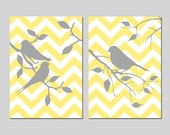 Chevron Birds - Set of Two 5x7 Prints - Bathroom, Nursery, Kitchen - CHOOSE YOUR COLORS - Shown in Soft Yellow and Gray