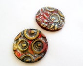 Polymer Clay Handmade Cabochon - Round 30 mm - Textured - Black Red Gold - 2 pieces