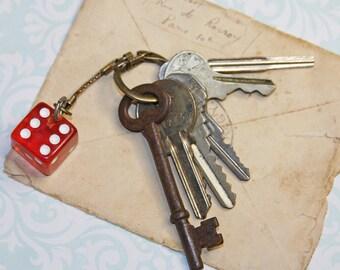 KEY RING with Las VEGAS Red & White Dice- Old Keys- Skeleton Key- Vegas Casino Souvenir