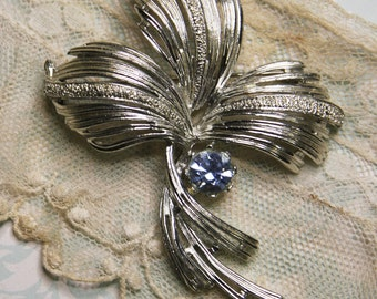 Vintage EMMONS BROOCH- with Blue Rhinestone- Silvertone Abstract Design- Large Statement Piece Jewelry