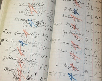 LEDGER SHEETS with nice script writing- 1925- with Red & Blue X's (12) pages