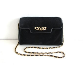 vintage BLACK SUEDE chain strap purse.