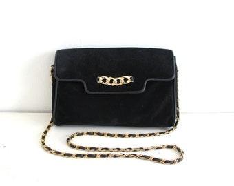 vintage BLACK SUEDE chain strap purse.