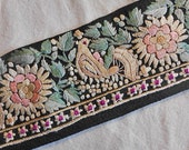 Art Deco Peaceful DOVE & PINK DAHLIA Embroidered Trim on Black Silk, Pastel Teal Leaves Red Dots, Jacket Purse Hat Pillow, 1930 Boho Chic 32