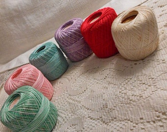 6 BALLS MERCERIZED Crochet COTTON 300+ Yds Ea, Variegated Rainbow Colors Aqua Lavender Red Green Pink Cream, Doilies Tatting Lace Crafts