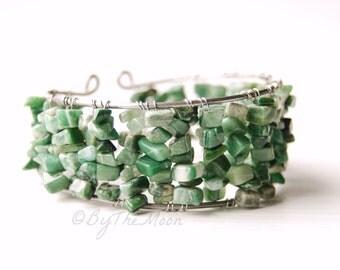 African Jade Stone Chip Cuff Bracelet - Stainless Steel Cuff - Boho Bracelet - Chunky Stone Bracelet - Adjustable Wire Bracelet - Green Boho