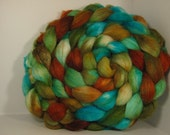 Super Sale Polwarth/Tussah Silk 60/40 Combed Top Roving - 5oz -  Copper Sea 3
