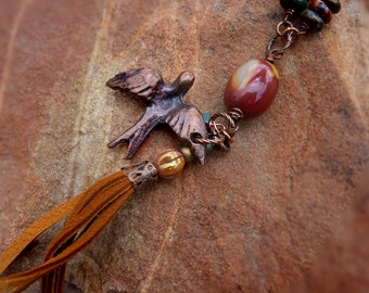Swallowtail bird necklace - long boho leather tassel bird necklace Austrailian Mookaite stone