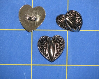 3 Buttons, Silver Hearts with Filligree and Shank Backs Lightweight, Great Texture