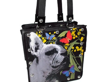 French Bulldog Custom Collage Leather Handbag - Feature your own special pet!