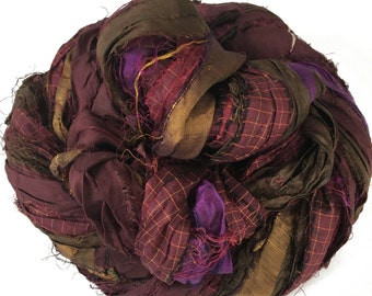 Sari Silk Ribbon, Reclaimed, Recycled, Fair Trade, Skein no. 315, 47 yds.