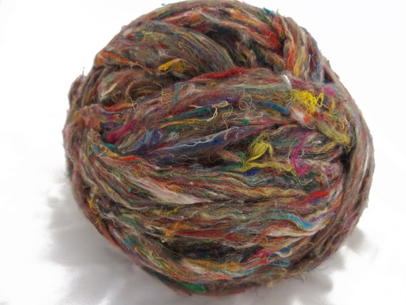 Pulled carded sari silk, roving form, 4 oz., recycled, reclaimed