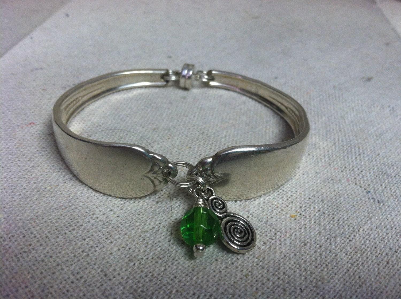 spoon bracelet with charm by desertsageglassworks on etsy