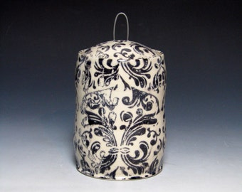 White and Black Small Jar with Damask Pattern