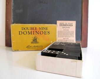 Black and White Dominoes Vintage Parker Bros.  No. 315 Vintage Game Pieces