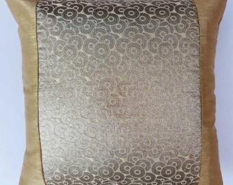 gold Brocade Festive pillow. decorative gold pillow cover. festive throw pillow.  45 x 45 cm can  customize.