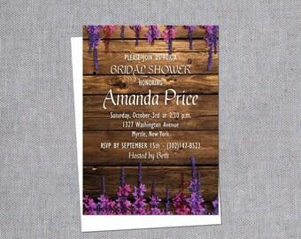Bridal Shower Invitation - Rustic Bridal Shower Invitations - Wildflower Bridal Shower - Country Bridal Shower - Handmade Invitations