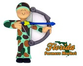 Hunter with bow and arrow Archer Archery Camo Christmas Tree Ornament Available to Personalize.